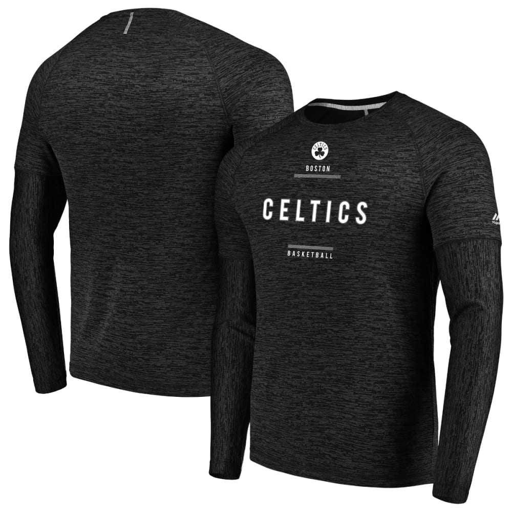 BOSTON CELTICS Men's Ultra Streak Poly Long-Sleeve Tee - BLACK