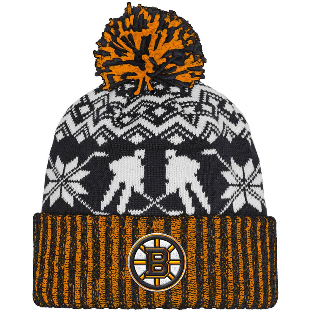 ADIDAS Boston Bruins Ugly Sweater Knit Cuffed Pom Beanie - BLACK