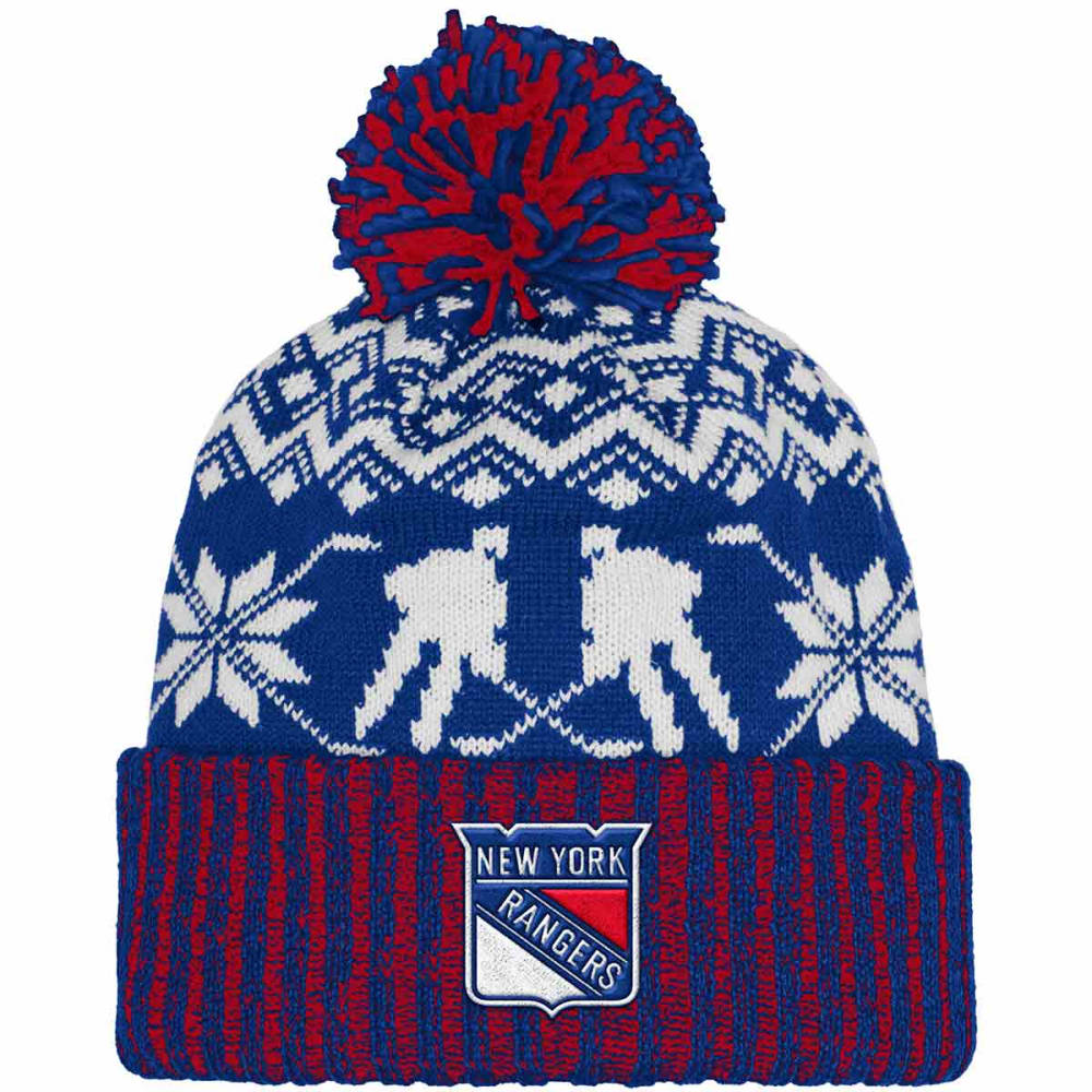 ADIDAS New York Rangers Ugly Sweater Knit Cuffed Pom Beanie - ROYAL BLUE