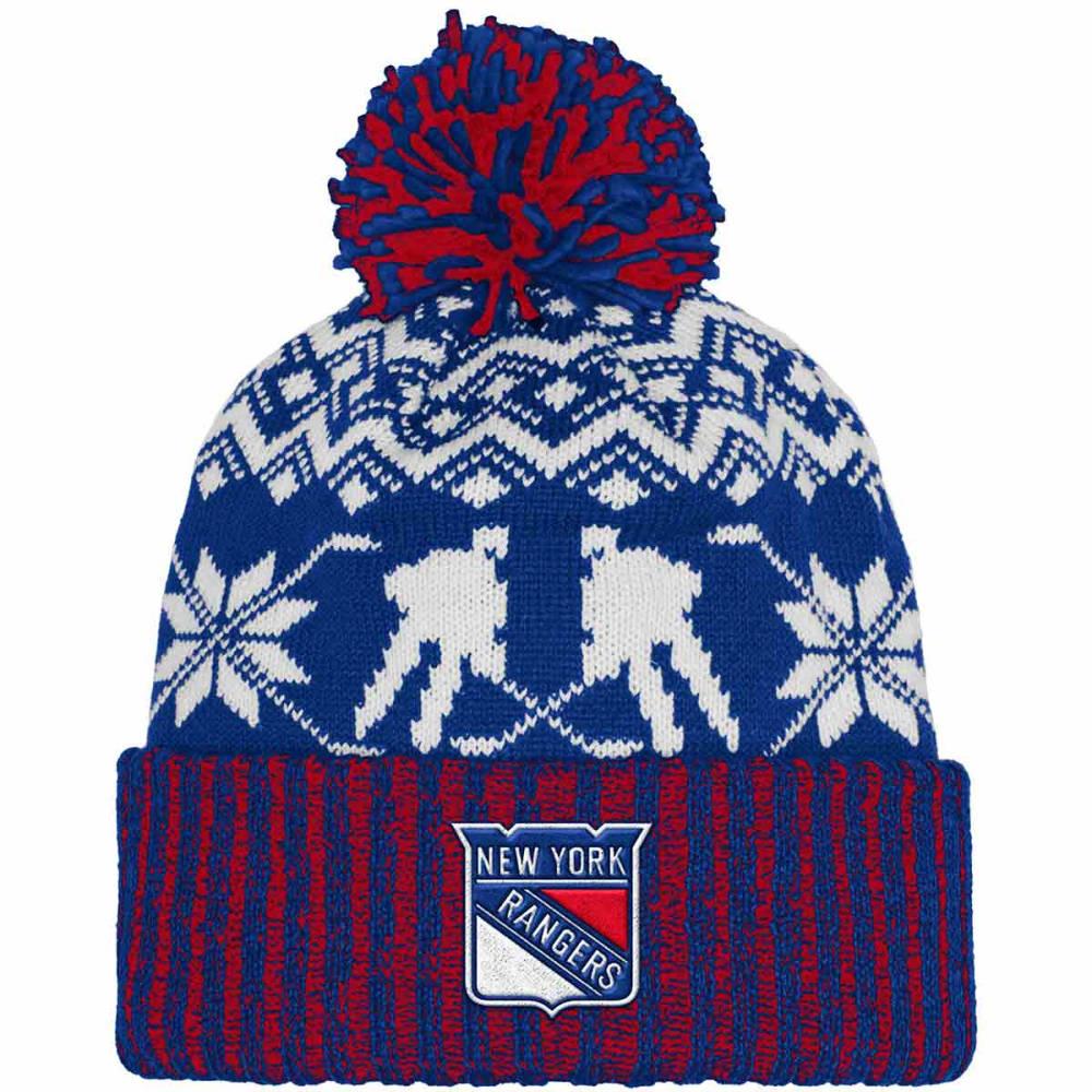 ADIDAS New York Rangers Ugly Sweater Knit Cuffed Pom Beanie - ROYAL BLUE