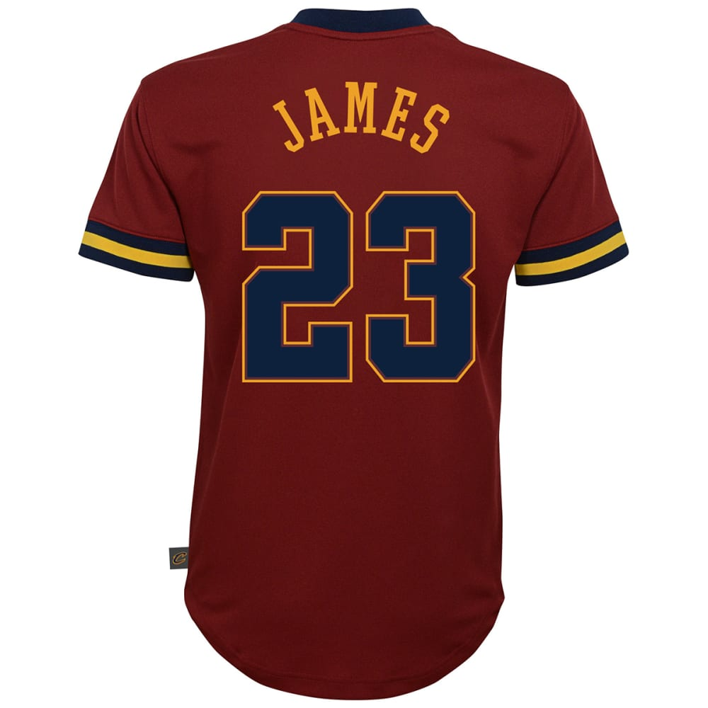 CLEVELAND CAVALIERS Big Boys' LeBron James Name and Number V-Neck Mesh Short-Sleeve Fashion Top - WINE/MAROON