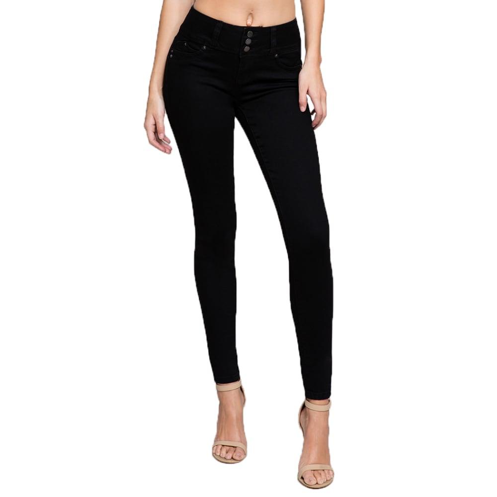 YMI Juniors' WannaBettaButt 3-Button Mid-Rise Skinny Jeans 1