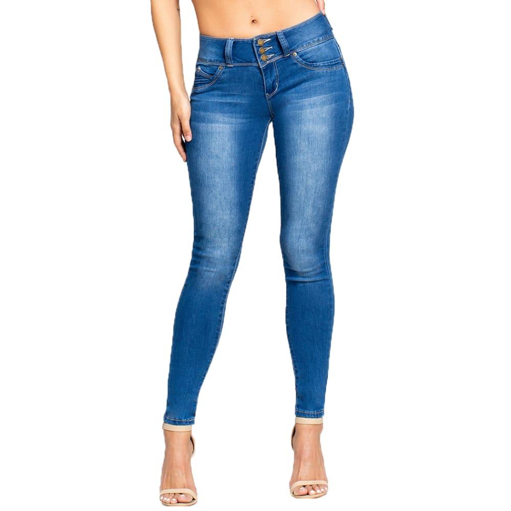 YMI Juniors' WannaBettaButt 3-Button Mid-Rise Skinny Jeans - M08