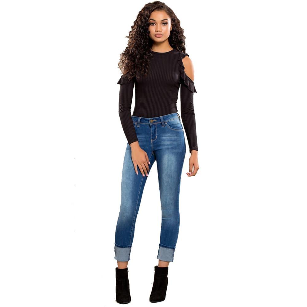 YMI Juniors' WannaBettaButt Mega Cuffed Skinny Jeans - M02