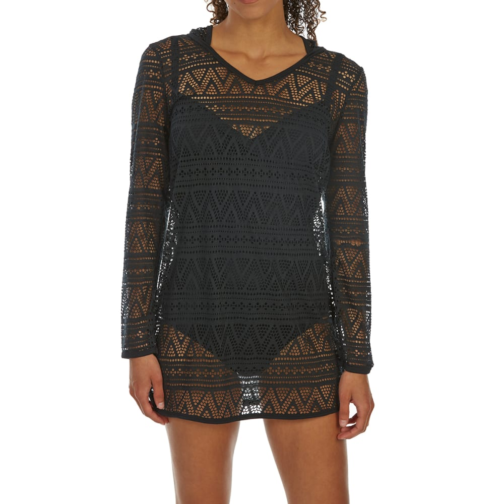 Balance Collection By Marika Women's Angelica Hooded Swim Cover-Up - Black, L