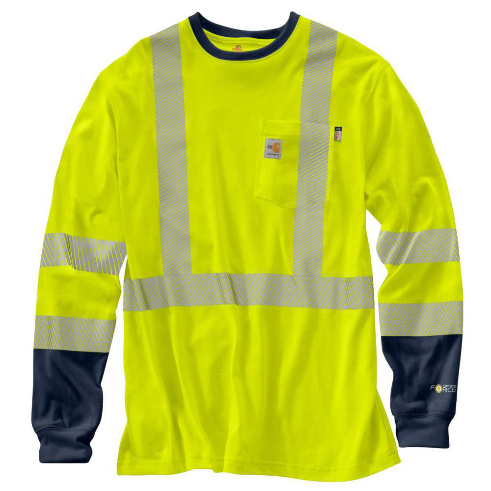 CARHARTT Men's Flame-Resistant High-Vis Force Long-Sleeve-Tee, Extended Sizes M TALL