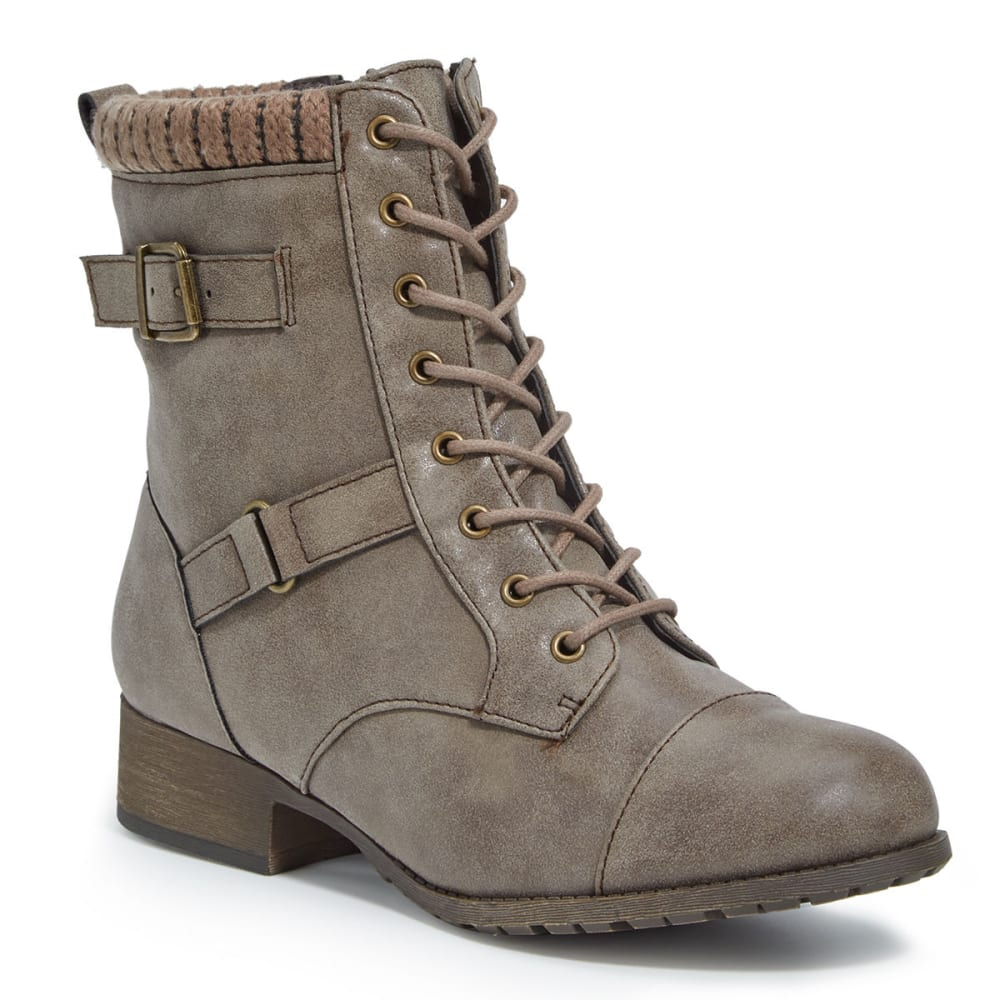 JELLYPOP Women's Len Distressed Lace-Up Boots - GREY