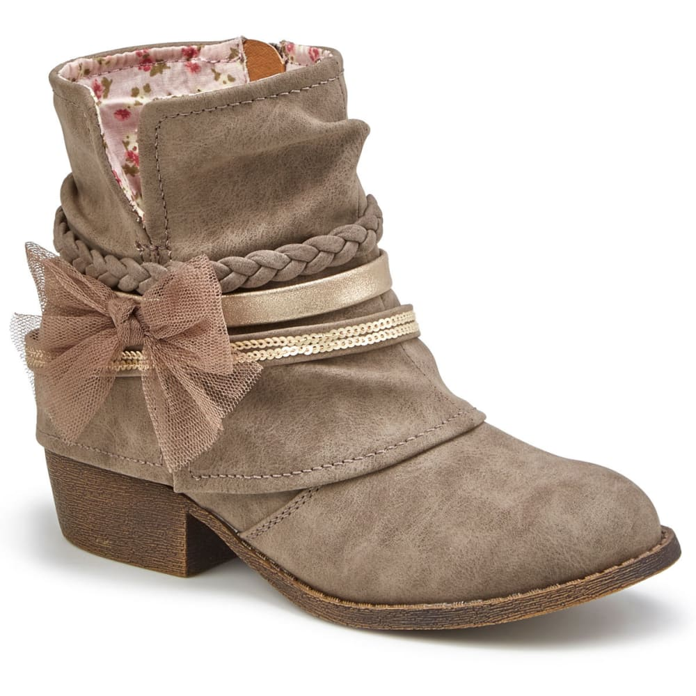 JELLYPOP Girls' Flicker Distressed Bow Booties - STONE