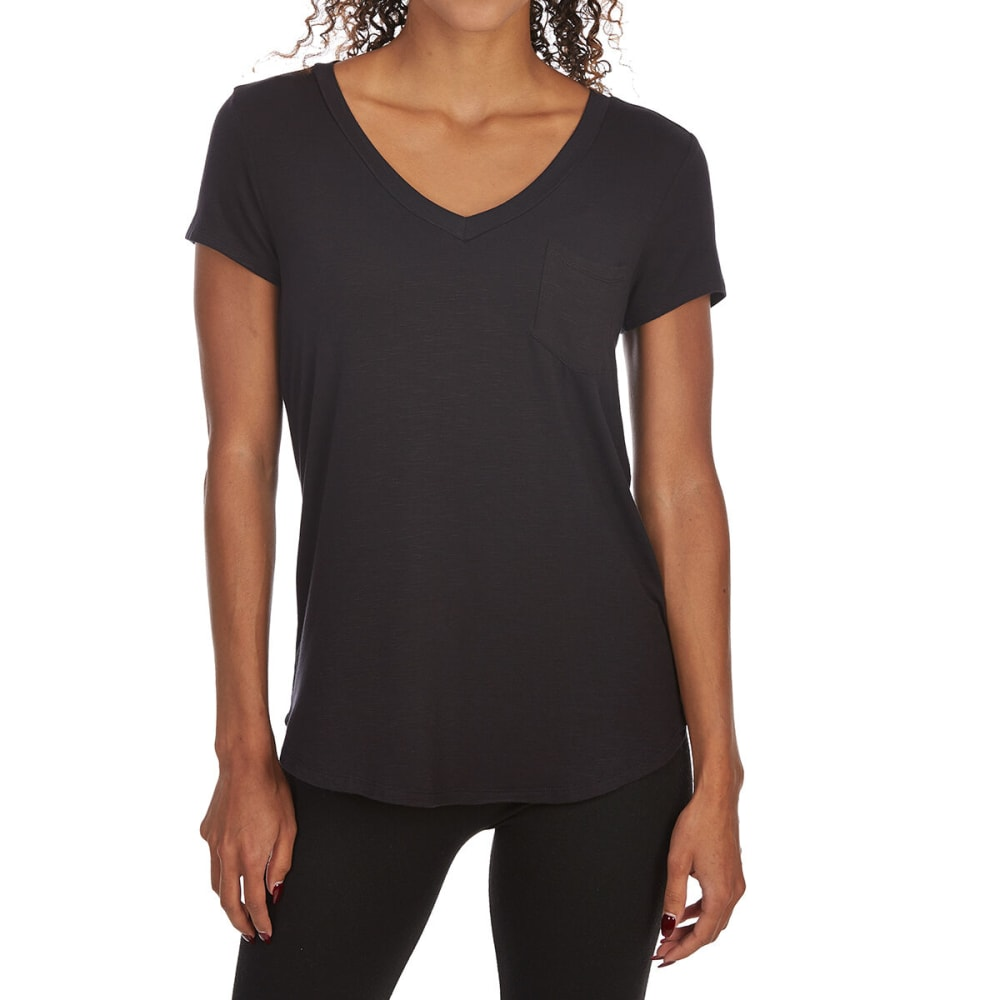 TRESICS FEMME Women's Pocket V-Neck Short-Sleeve Tee - BLACK