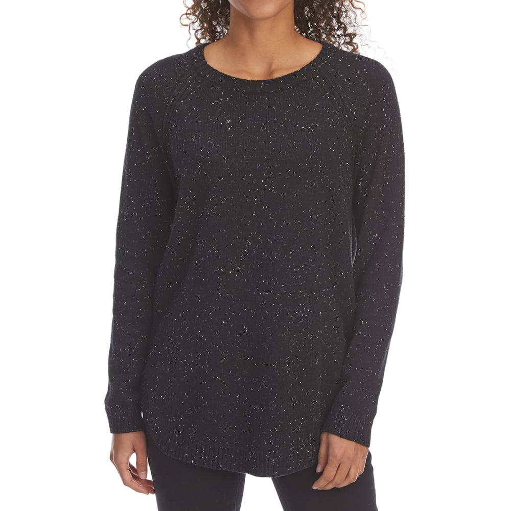 JEANNE PIERRE Women's Crew Flex Raglan Long-Sleeve Sweater - BLACK