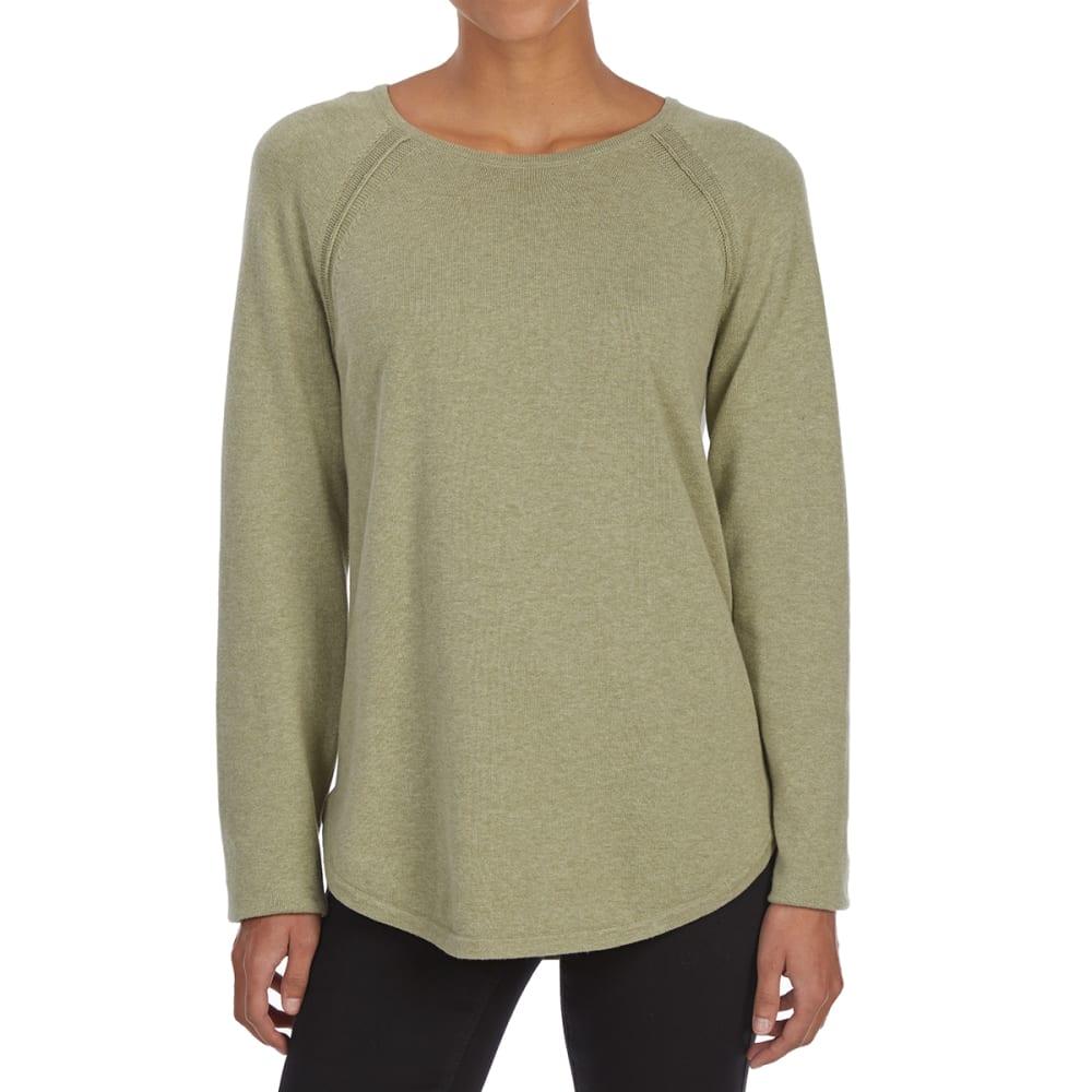 JEANNE PIERRE Women's Crew Raglan Long-Sleeve Sweater - GREEN HEATHER