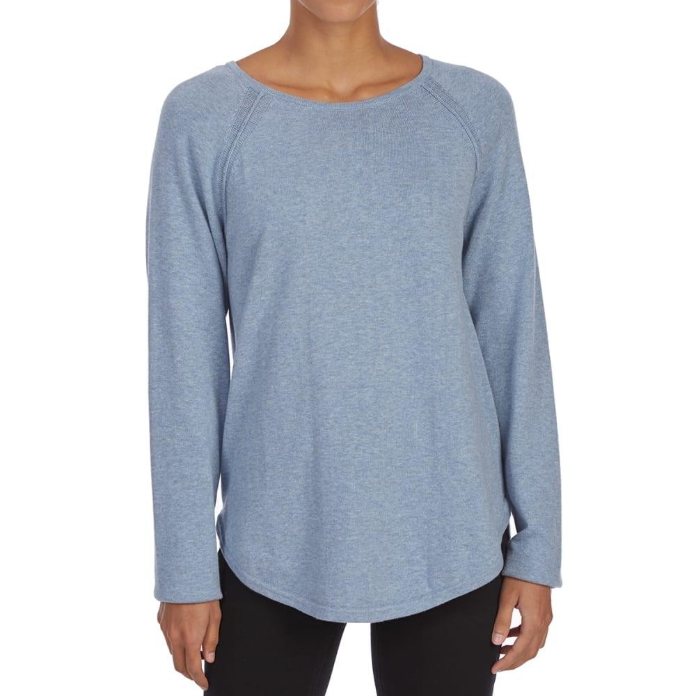 JEANNE PIERRE Women's Crew Raglan Long-Sleeve Sweater - CHAMBREY HEATHER