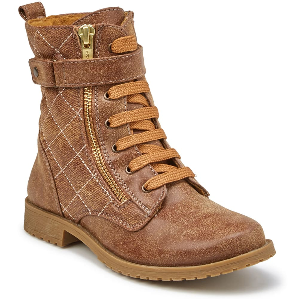 RACHEL SHOES Girls' Kirsten Lace-Up Boots - COGNAC/GOLD