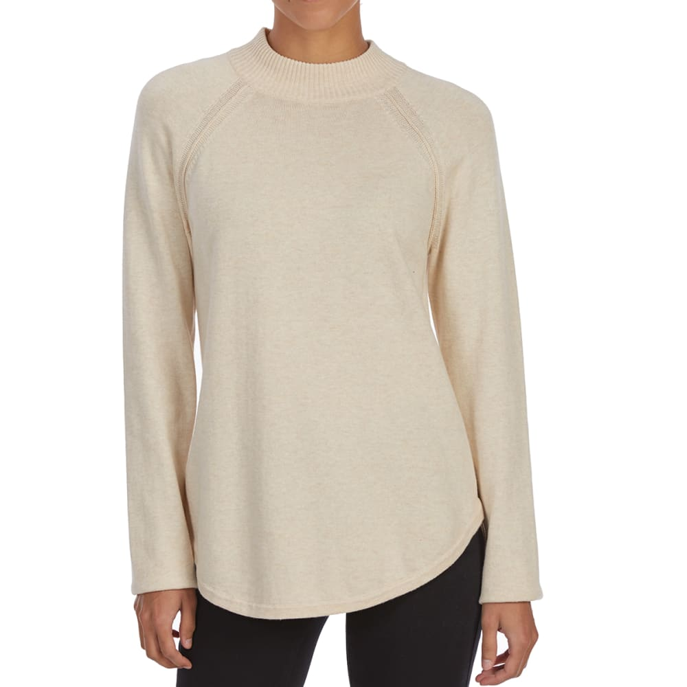 JEANNE PIERRE Women's Mock Neck Raglan Long-Sleeve Sweater - LT BEIGE HEATHER