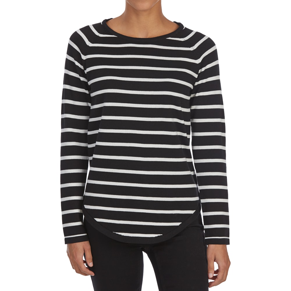 JEANNE PIERRE Women's Striped Crew Long-Sleeve Sweater - BLACK/PEWTER