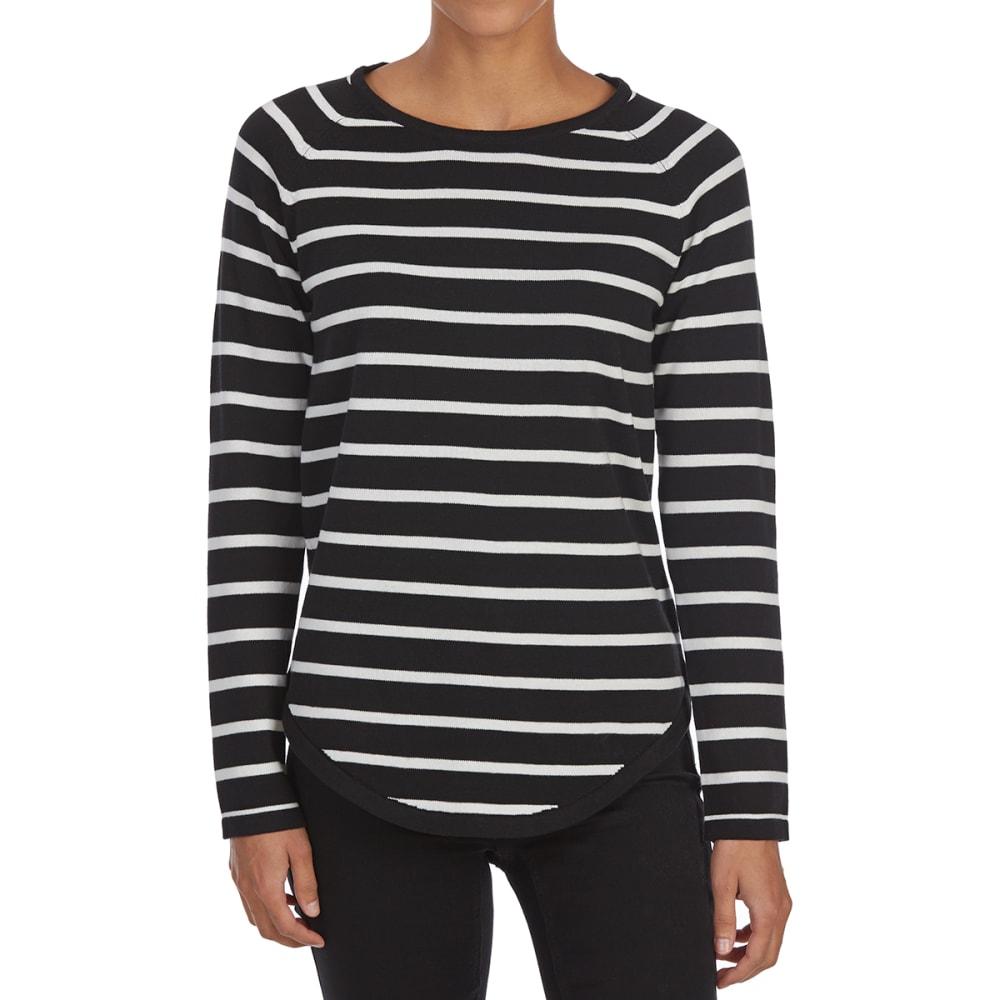 JEANNE PIERRE Women's Striped Crew Long-Sleeve Sweater - BLACK/PEWTER