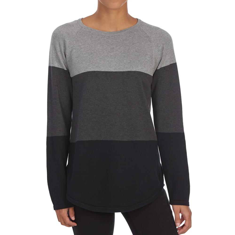 JEANNE PIERRE Women's Color-Blocked Crew Long-Sleeve Sweater - BLACK COMBO
