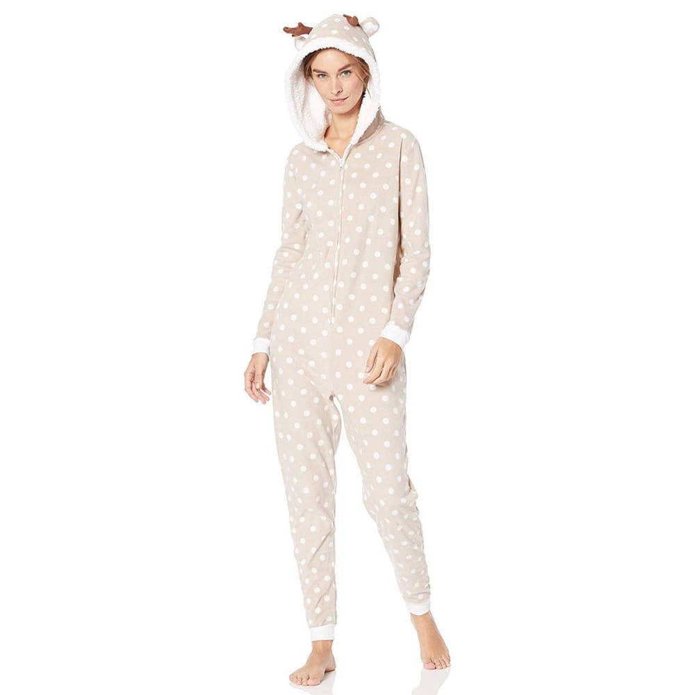 ST. EVE Women's Microfleece Hooded Onesie - 215-TAUPE DOT
