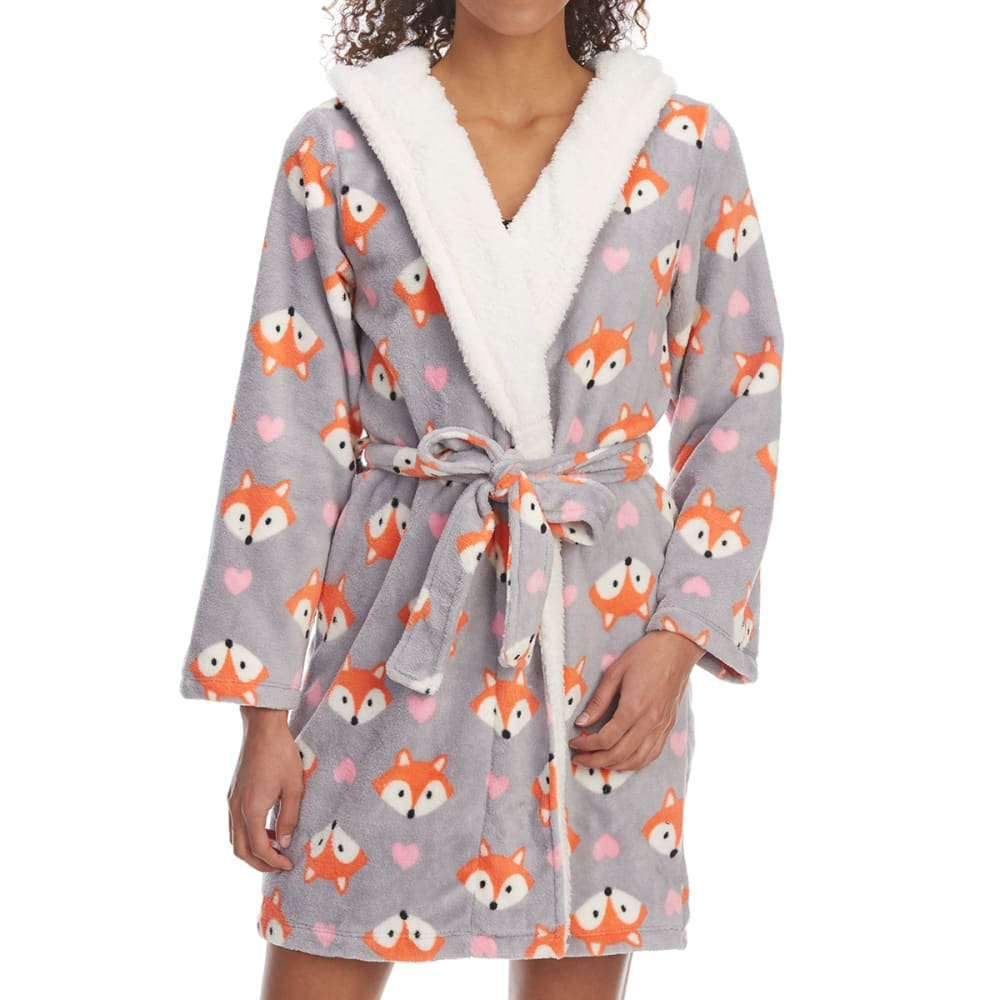 ST. EVE Women's Novelty Print Hooded Plush Robe - 033-GREY FOX