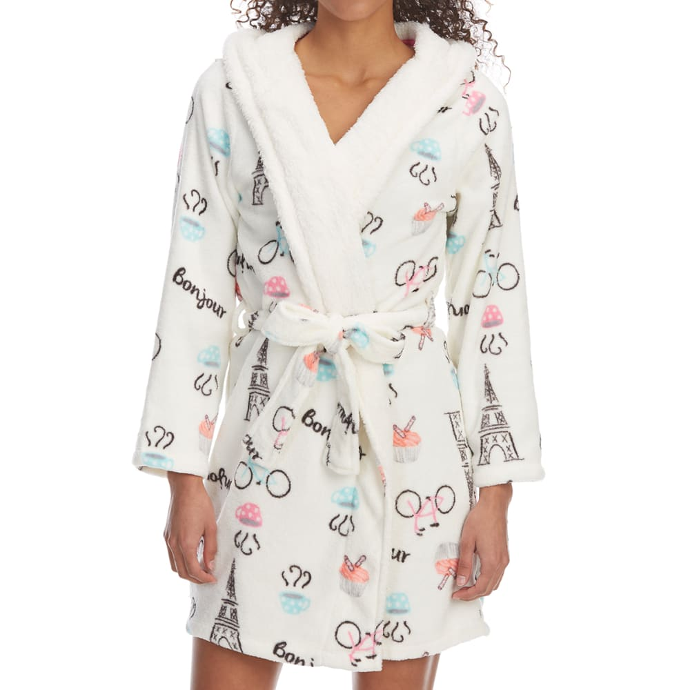 ST. EVE Women's Novelty Print Hooded Plush Robe - 271-IVORY PARIS