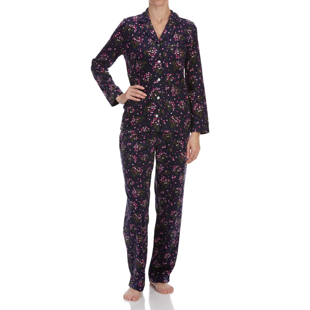 Carole Hochman Women's Notch Collar Pajama Set - Blue, L