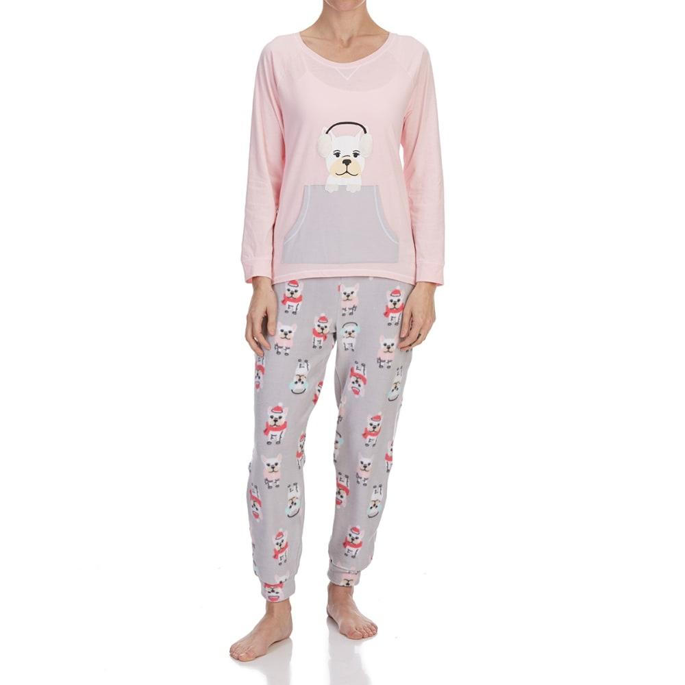 LAYLA Women's Frenchie Pajama Set - 031-GREY GRD DOGS
