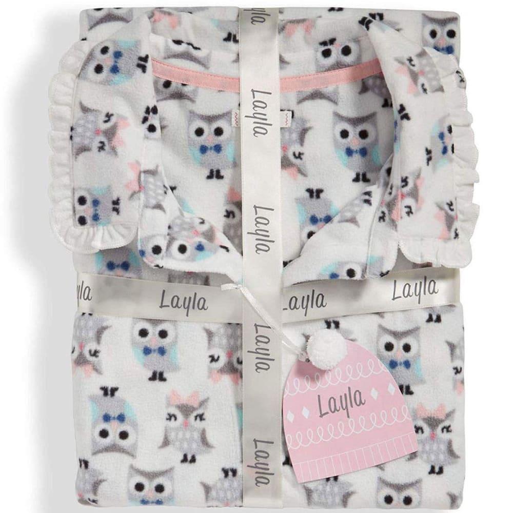 LAYLA Women's Notch Collar Microfleece Pajama Set - 271-IVORY OWLS
