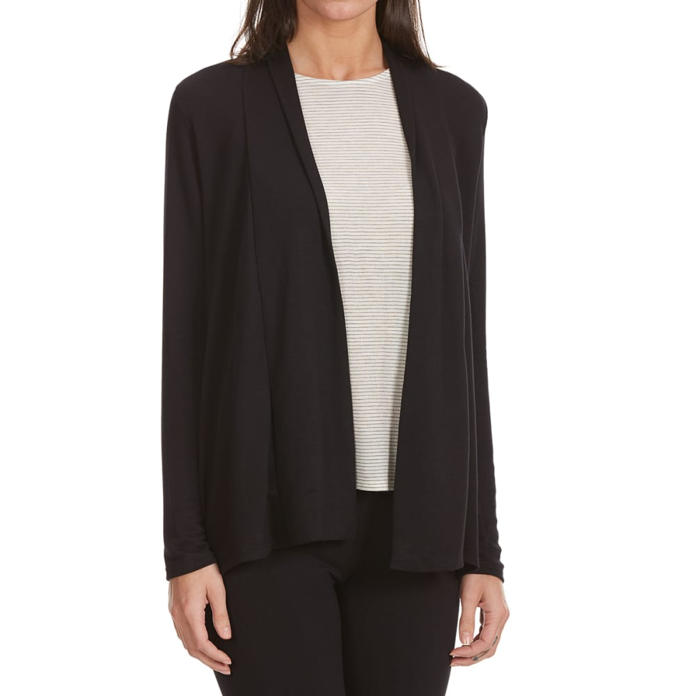 TRESICS FEMME Women's Hacci Pointed Hem Long-Sleeve Cardigan - BLACK