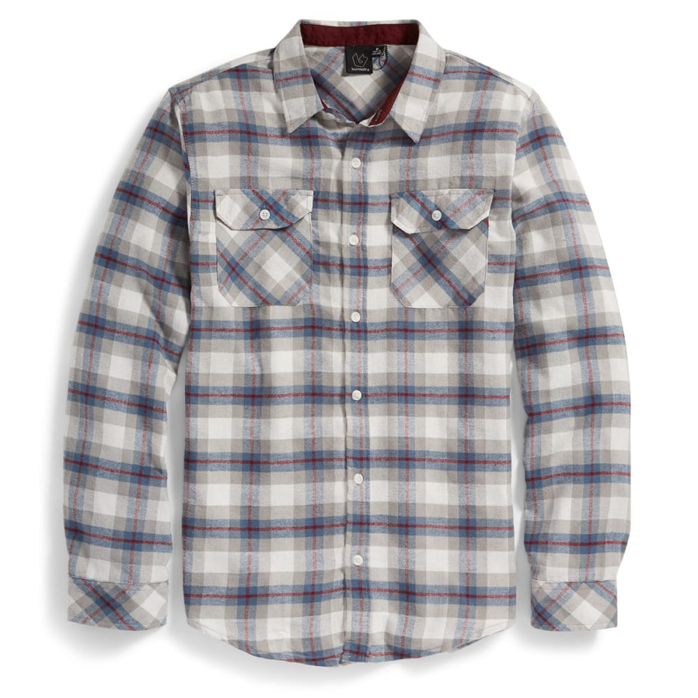 BURNSIDE Guys' Long-Sleeve Flannel Shirt - GREY