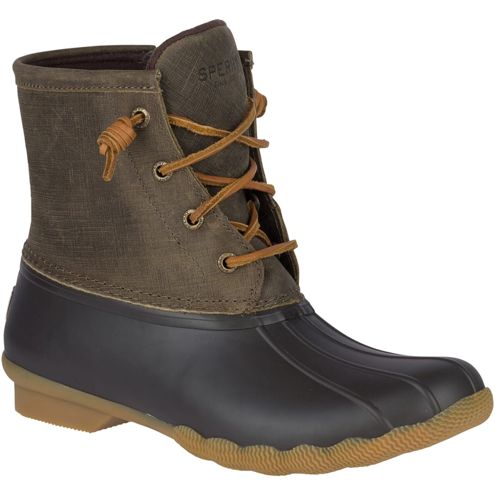 SPERRY Women's Saltwater Waterproof Duck Boots - OLIVE - STS99729