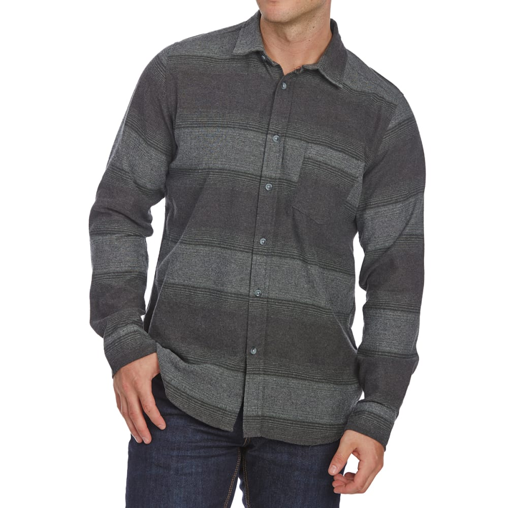 OCEAN CURRENT Guys' Lakeport Long-Sleeve Flannel Shirt - GUNMETAL