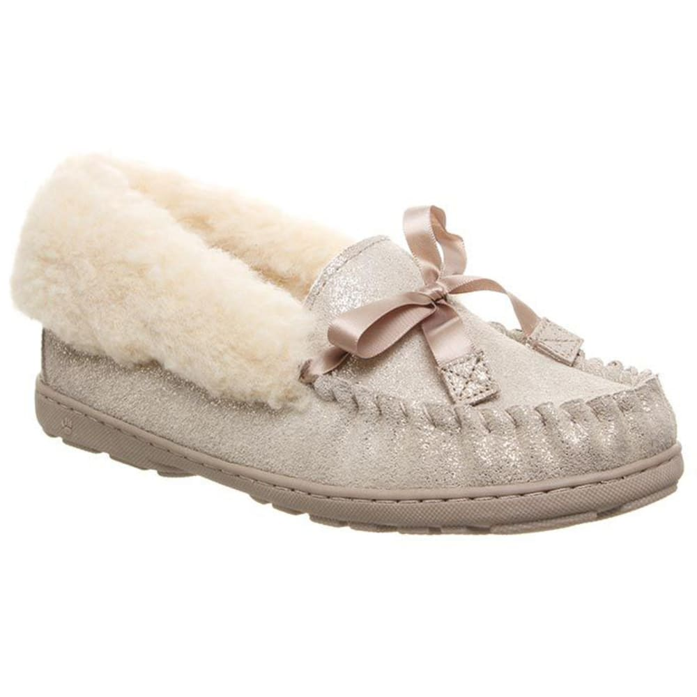 BEARPAW Women's Indio Spillout Fur Moc Slippers - PEWTER DISTRSSED-352