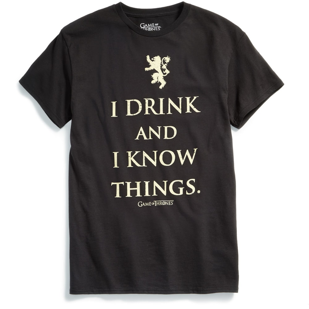 ISAAC MORRIS Guys' Game of Thrones I Drink and I Know Things Short-Sleeve Graphic Tee - BLACK