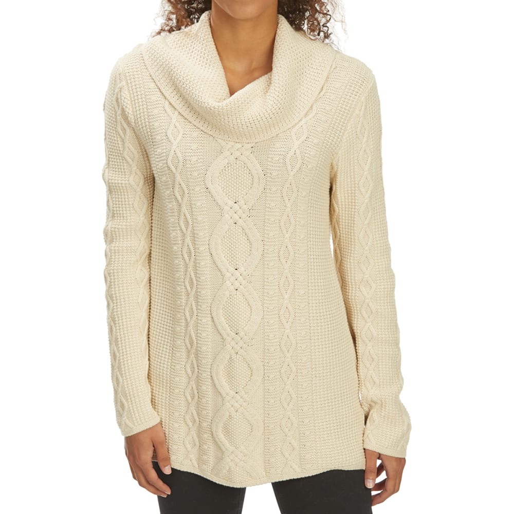 JEANNE PIERRE Women's Cowl Neck Fisherman Sweater - LT BEIGE HEATHER