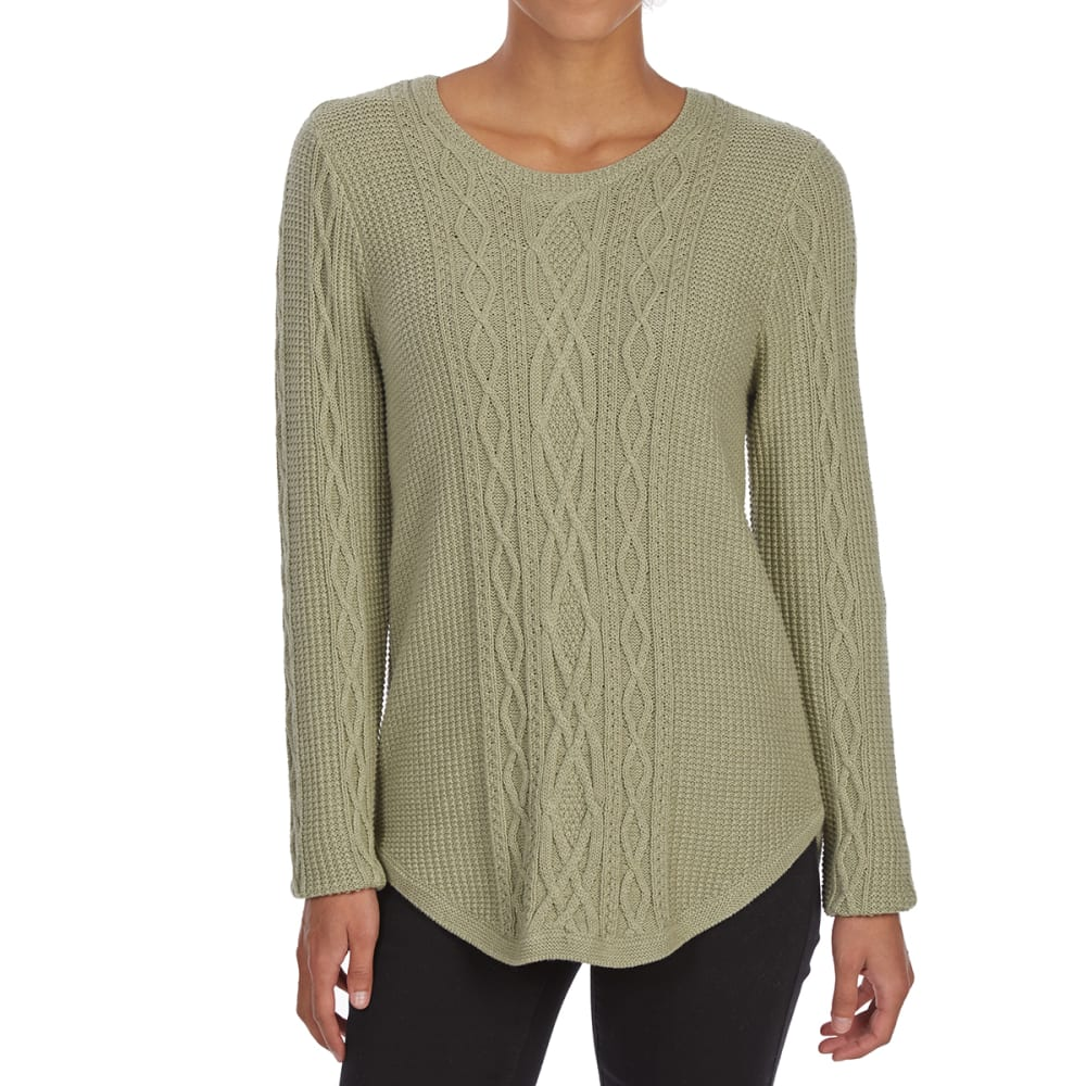 JEANNE PIERRE Women's Crew Round Hem Long-Sleeve Fisherman Sweater - GREEN HEATHER