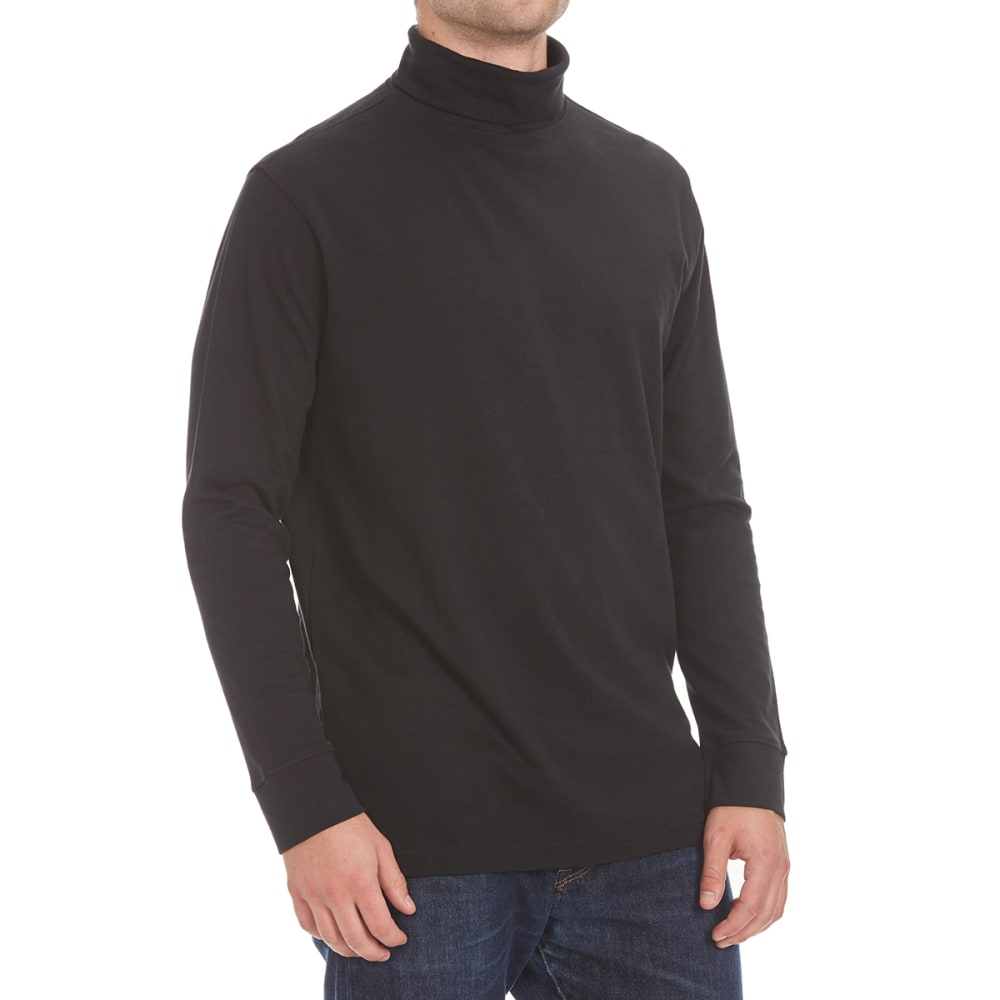 RUGGED TRAILS Men's Turtleneck Long-Sleeve Shirt - BLACK