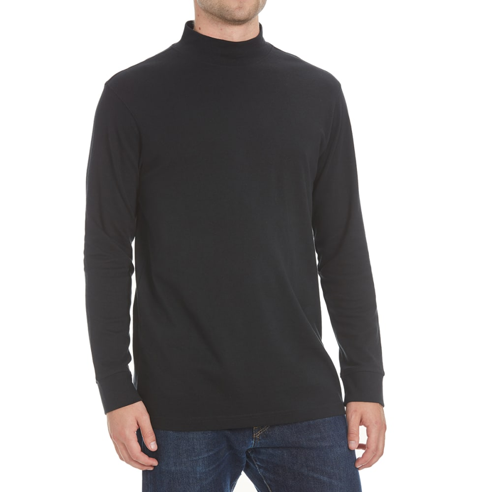Rugged Trails Men's Mock Neck Long-Sleeve Shirt - Black, M