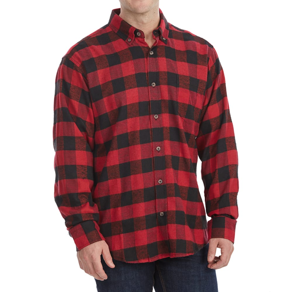 RUGGED TRAILS Men's Long-Sleeve Flannel Shirt - RED - BWF-18266