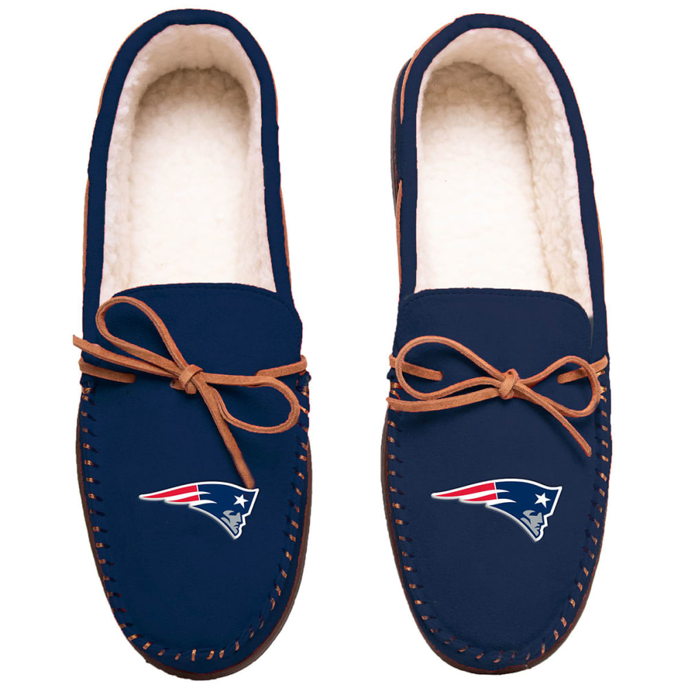 NEW ENGLAND PATRIOTS Team Color Big Logo Moccasin Slippers - NAVY