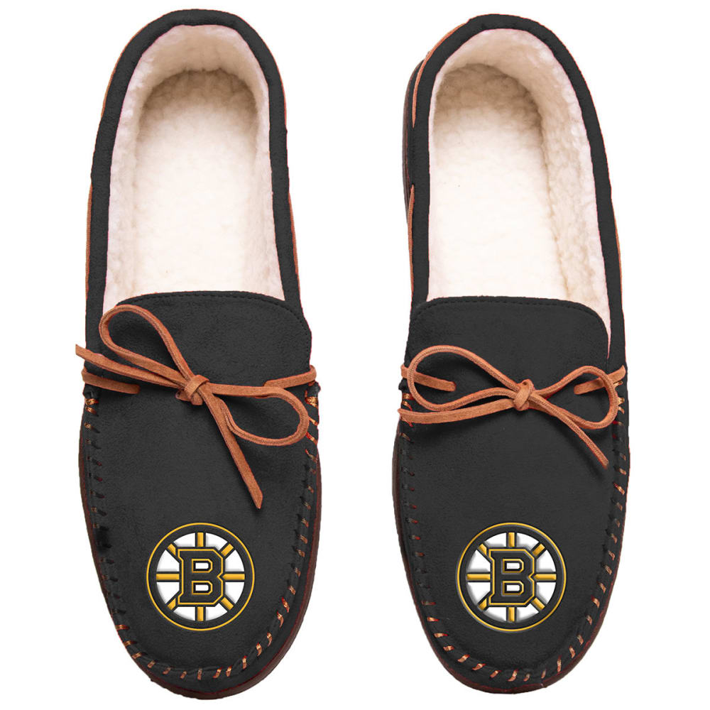 BOSTON BRUINS Team Color Big Logo Moccasin Slippers - BLACK
