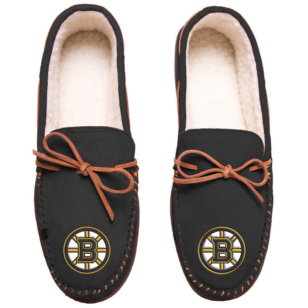 BOSTON BRUINS Team Color Big Logo Moccasin Slippers - BLACK