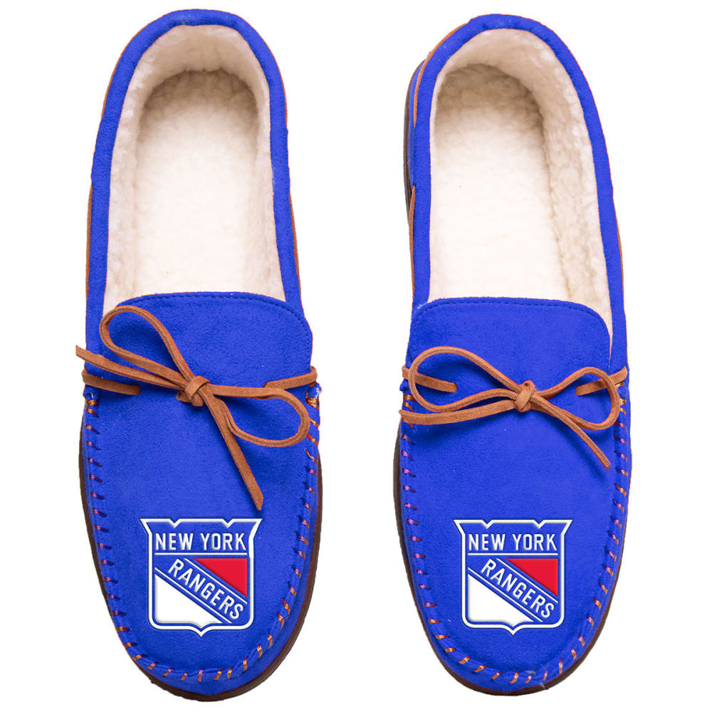NEW YORK RANGERS Team Color Big Logo Moccasin Slippers - ROYAL BLUE