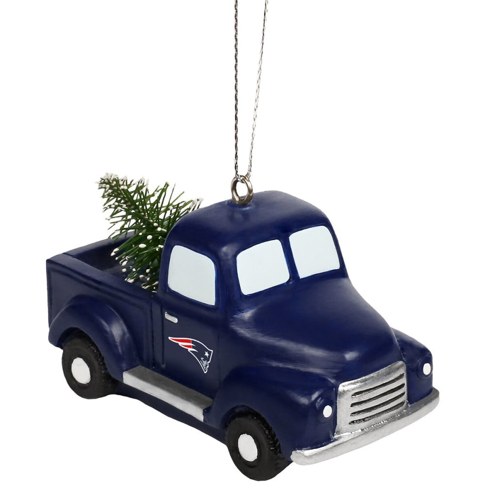 NEW ENGLAND PATRIOTS Truck with Tree Holiday Ornament - NAVY