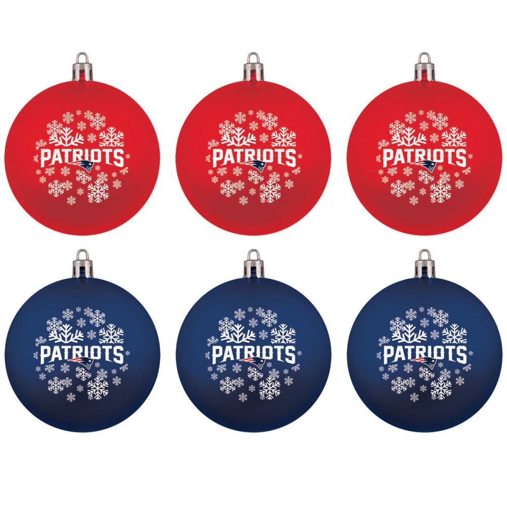 NEW ENGLAND PATRIOTS Home Away Shatterproof Ornaments, 6-Pack - NAVY/RED