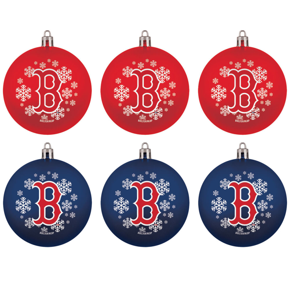 BOSTON RED SOX Home Away Shatterproof Ornaments, 6-Pack - NAVY/RED