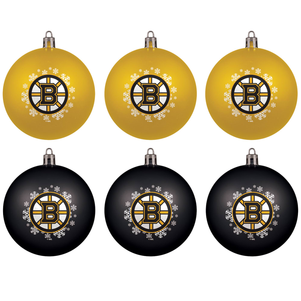 BOSTON BRUINS Home Away Shatterproof Ornaments, 6-Pack - BLK/YELLOW