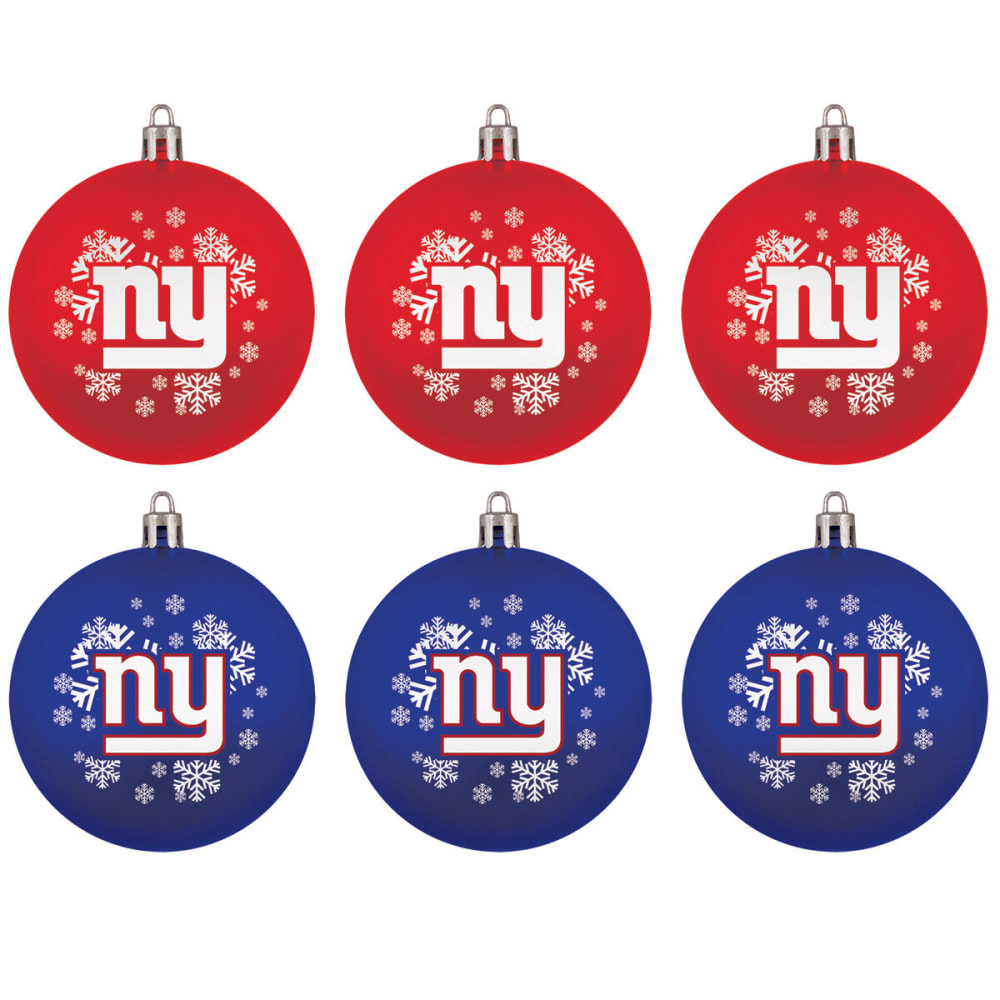 NEW YORK GIANTS Home Away Shatterproof Ornaments, 6-Pack - ROY/RED
