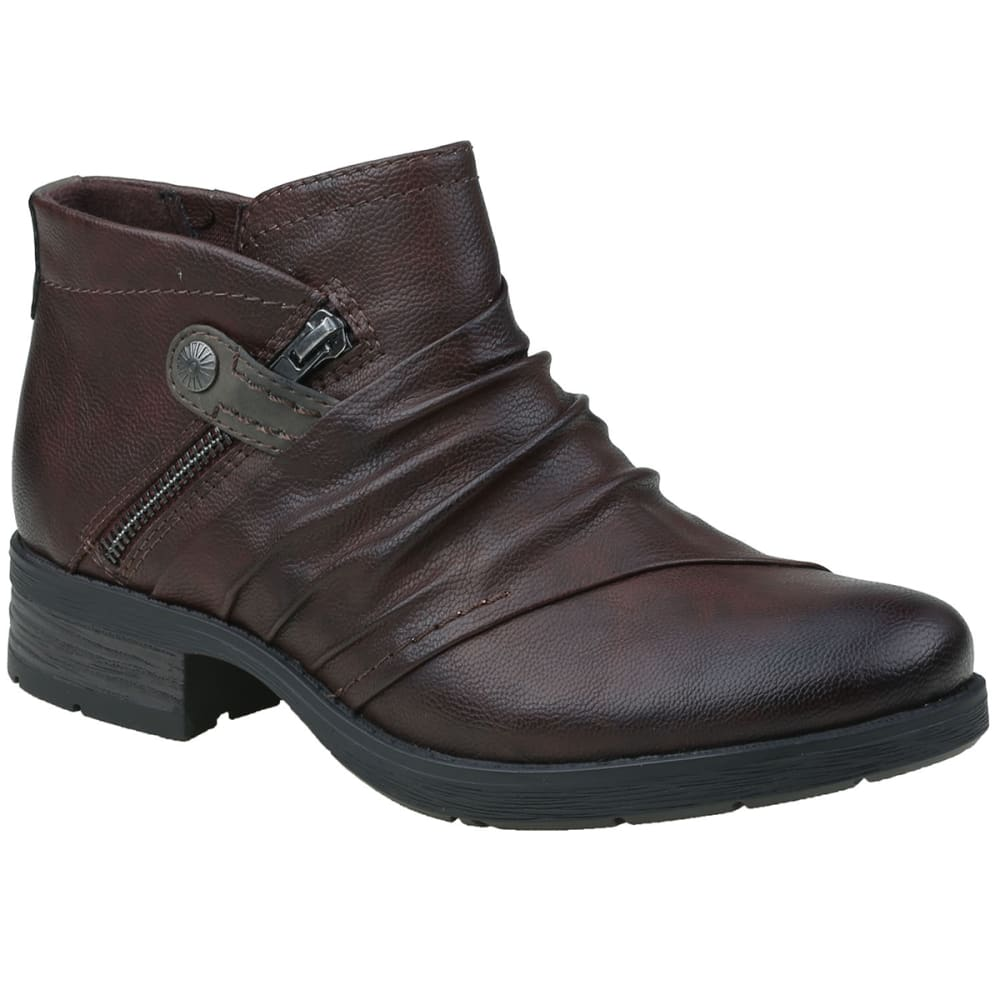 EARTH ORIGINS Women's Natalie Ruched Booties - RUSSET/STONE-889