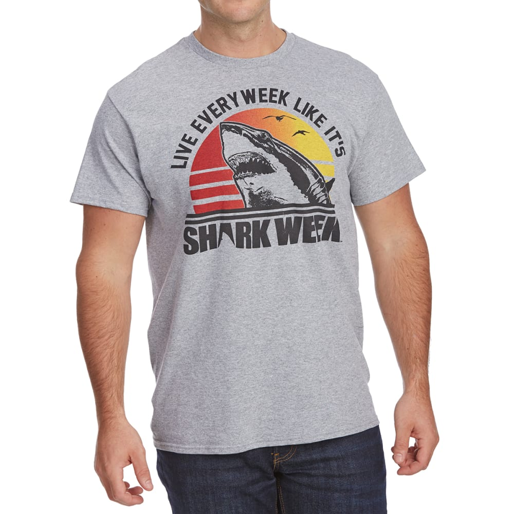 FIFTH SUN Guys' Live Every Week Like Shark Week Short-Sleeve Graphic Tee - ATHLETIC HEATHER
