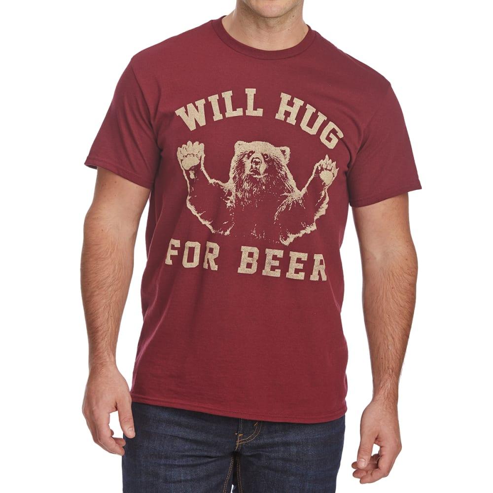 FIFTH SUN Guys' Will Hug For Beer Short-Sleeve Graphic Tee - BURGUNDY